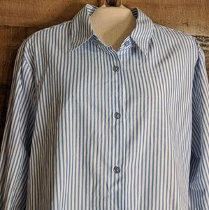 Womens medium blue and white striped button up top